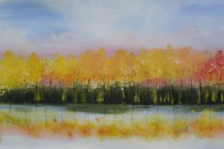 Autumn Lakeside Oil Painting