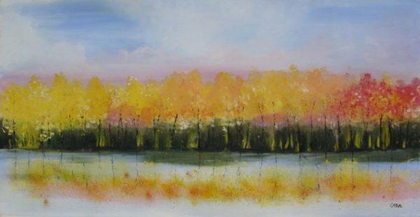 Autumn Lakeside Oil Painting