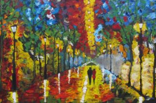 Oil Painting on Canvas, Evening Stroll