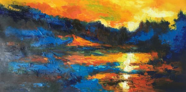 Abstract Landscape with lake sunset