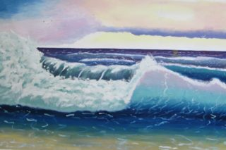 Atlantic Ocean Sunset Oil Painting