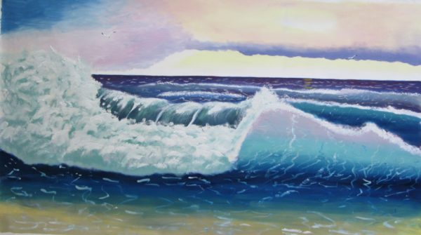 Atlantic Ocean Sunset Oil Painting