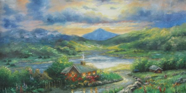 Cottage Sunset Oil Painting