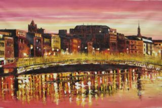 Hapenny Bridge Sunset 70x140