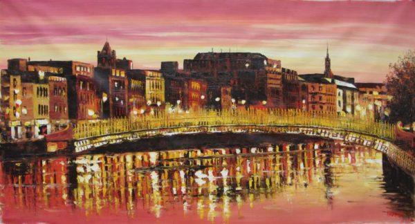 Hapenny Bridge Sunset 70x140